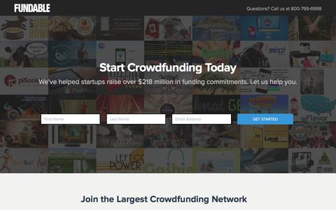 Screenshot of Landing Page fundable.com - Fundable | Crowdfunding for Small Businesses - captured Dec. 9, 2015
