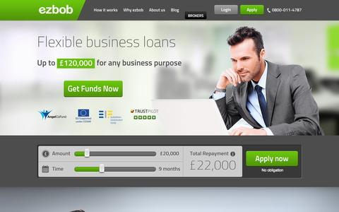 Screenshot of Home Page ezbob.com - Business Loans UK | ezbob Instant Business Loans UK - captured Oct. 1, 2015