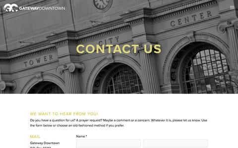 Screenshot of Contact Page gatewaydowntown.com - Contact Us — Gateway Church Downtown - captured Jan. 24, 2018