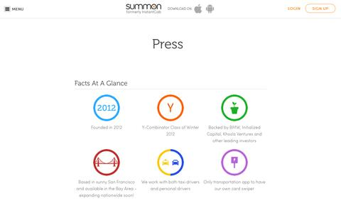 Screenshot of Press Page summon.com - Summon | Personal & Taxi Rides - captured Oct. 1, 2014