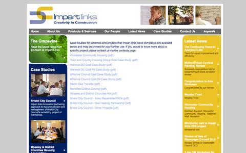 Screenshot of Case Studies Page impartlinks.com - Impart Links - Case Studies - captured Oct. 6, 2014