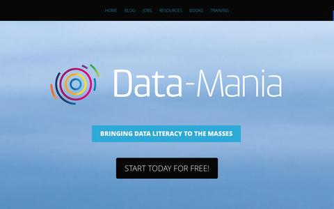 Screenshot of Home Page data-mania.com - Data-Mania by Lillian Pierson | Bringing data literacy to the masses - captured Jan. 7, 2016