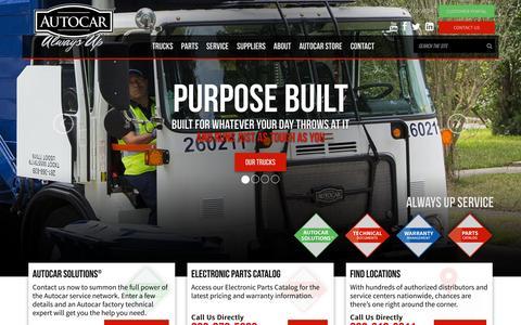 Screenshot of Home Page autocartruck.com - Welcome to Autocar – Home | Autocar Trucks - captured Oct. 8, 2015