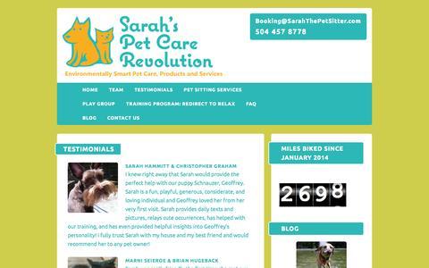 Screenshot of Testimonials Page sarahthepetsitter.com - Testimonials - NOLA Cat Sitting, Dog Walking, Sarah the Pet Sitter LLCSarah's Pet Care Revolution - captured Oct. 3, 2014