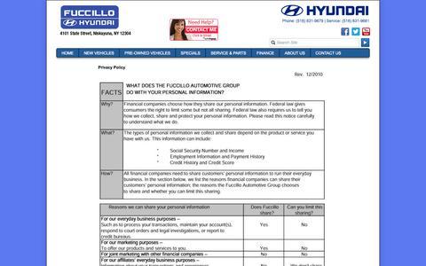Screenshot of Privacy Page hyundaiofschenectady.com - Fuccillo Hyundai is a Niskayuna Hyundai dealer and a new car and used car Niskayuna NY Hyundai dealership. - captured Oct. 6, 2014