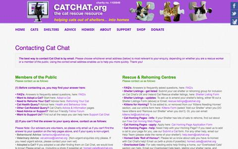 Screenshot of Contact Page catchat.org - Contact the Cat Chat Charity - Cat Chat - captured Nov. 29, 2016
