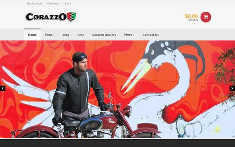 Screenshot of Home Page corazzo.net - Corazzo Design | Motorcycle and Scooter | Jackets | Gloves | Accessories - captured Dec. 12, 2015