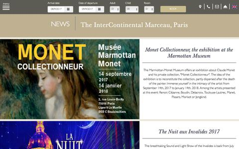 Screenshot of Press Page ic-marceau.com - NEWS | Actualites Page | InterContinental Marceau - captured Sept. 8, 2017