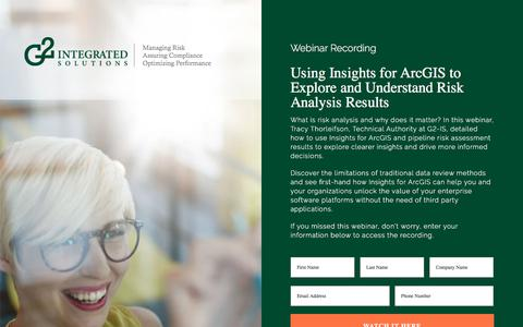 Screenshot of Signup Page g2-is.com - Webinar Recording - Using Insights for ArcGIS to Explore and Understand Risk Analysis Results - captured July 6, 2018
