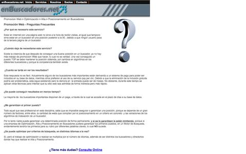 Screenshot of FAQ Page enbuscadores.net - Promocion Web / Promocion en Buscadores / FAQ - captured April 11, 2017