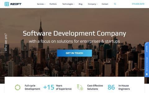 Screenshot of Home Page azoft.com - Software Development Company | Azoft - captured July 31, 2018