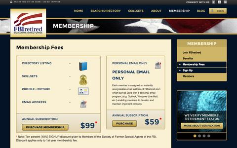Screenshot of Signup Page fbiretired.com - FBI Retired Signature Directories | Locate Retired FBI Agents / Analysts | Expert Witness on Demand - captured Oct. 5, 2014