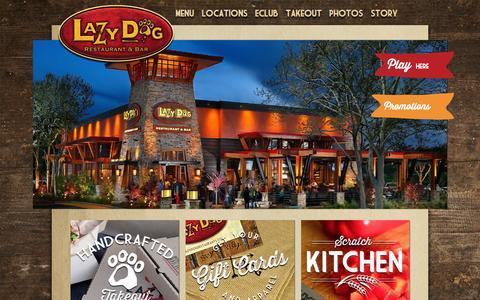 Screenshot of Home Page lazydogrestaurants.com - Lazy Dog Restaurant & Bar - captured June 18, 2015