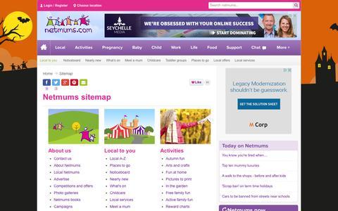 Screenshot of Site Map Page netmums.com - Sitemap - Netmums - captured Oct. 26, 2014