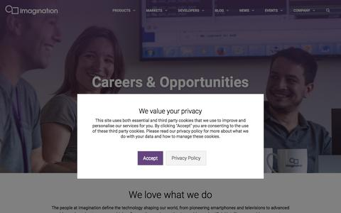 Screenshot of Jobs Page imgtec.com - Careers - Imagination - captured Sept. 13, 2018