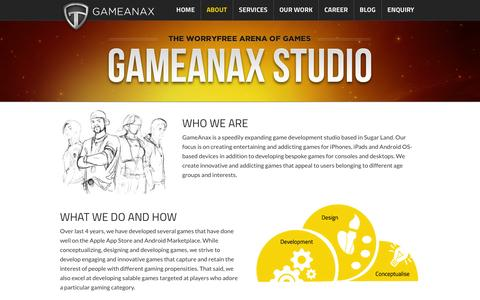 Screenshot of About Page gameanax.com - About - Best Mobile Game Application Development Company iPhone, iPad, Window Phone, BlackBerry Devices - captured Sept. 25, 2014