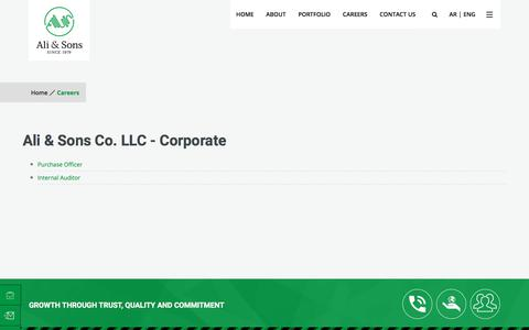 Screenshot of Jobs Page ali-sons.com - Ali & Sons | Careers - captured Sept. 7, 2019