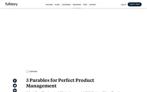Screenshot of Team Page fullstory.com - 3 Parables for Perfect Product Management - captured Feb. 5, 2020