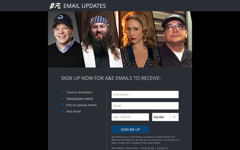 Screenshot of Signup Page aetv.com - Email Update Signup | A&E - captured Aug. 25, 2016