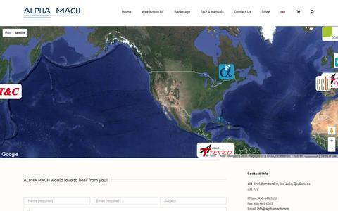 Screenshot of Contact Page alphamach.com - Contact - Alpha Mach - captured Nov. 20, 2016