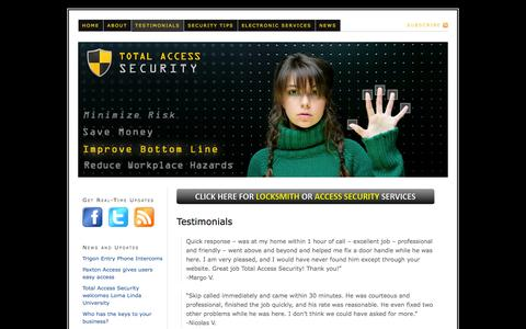 Screenshot of Testimonials Page totalaccesssecurity.com - Read Our Client Testimonials Before Hiring Us to Assist with Your Security or Locksmith Need - captured Oct. 9, 2014