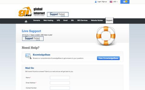 Screenshot of Support Page gi.net - Global Internet - domain name registration, web site hosting, email, registration - captured Oct. 2, 2014