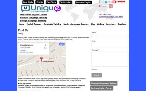 Screenshot of Locations Page uniquelanguages.com - Language Training Centre Locations - Language School Locations - captured Oct. 27, 2014