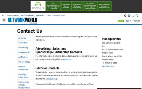 Screenshot of Contact Page networkworld.com - Contact Us - captured Jan. 10, 2020