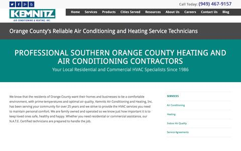 Screenshot of Services Page kemnitzhvac.com - HVAC Services | Orange County - captured Sept. 25, 2018