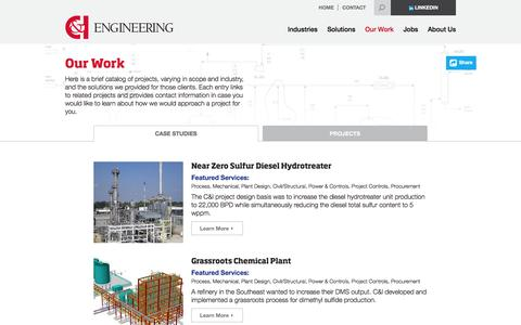 Screenshot of Case Studies Page cieng.com - Learn More About C&I Engineering Projects and Case Studies - captured Jan. 22, 2016