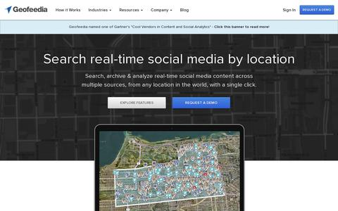 Screenshot of Home Page geofeedia.com - Geofeedia - Location-based Social Media Monitoring - captured July 17, 2014