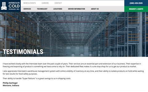Screenshot of Testimonials Page interstatecoldstorage.com - Satisfied Customers | Interstate Cold Storage - captured Nov. 14, 2018