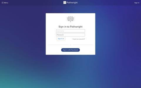 Screenshot of Login Page pathwright.com - Sign in to Pathwright - captured July 24, 2016