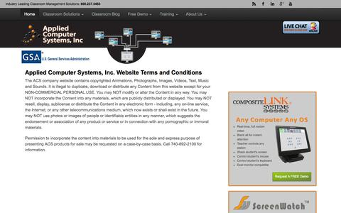 Screenshot of Terms Page acs-linksystems.com - Applied Computer Systems Website Terms and Conditions   ACS - captured Oct. 1, 2014