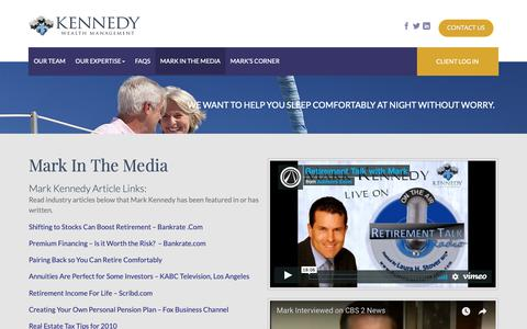 Screenshot of Press Page kennedywealthmgmt.com - Mark In The Media - Financial Planning Advice And Media | Kennedy Wealth Management - captured Oct. 15, 2018
