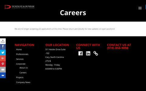 Screenshot of Jobs Page dunckleedunham.com - Careers - Duncklee & Dunham - captured Nov. 14, 2018
