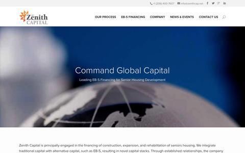 Screenshot of Home Page zenithcap.net - Leading EB-5 Financing for Senior Housing Development - captured Oct. 6, 2014