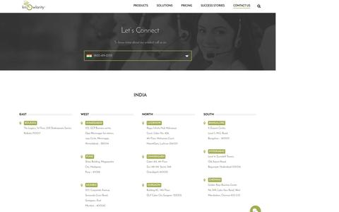 Screenshot of Contact Page knowlarity.com - Cloud Based Customer Contact Center Solutions - Knowlarity.com - captured April 22, 2016