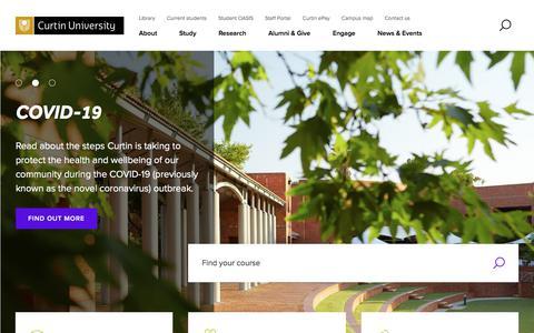 Screenshot of Home Page curtin.edu.au - Curtin University, Perth, Western Australia | Make Tomorrow Better - captured Feb. 17, 2020
