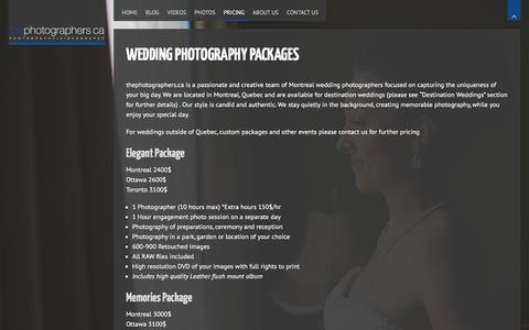 Screenshot of Pricing Page thephotographers.ca - Wedding Photography Packages - Montreal Wedding Photography - captured Feb. 16, 2016