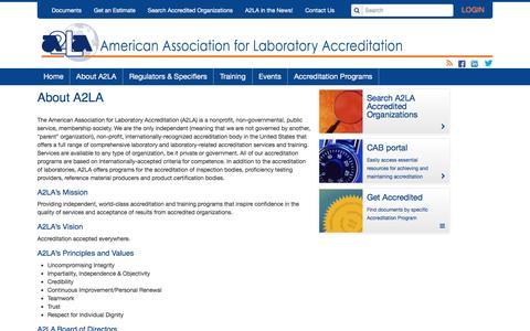 Screenshot of About Page a2la.org - About A2LA - captured Nov. 20, 2016