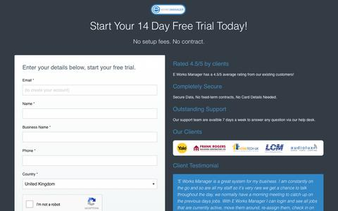 Screenshot of Trial Page eworksmanager.co.uk - 14-Day Free Trial - Job Management Software - E Works Manager - captured Sept. 20, 2017