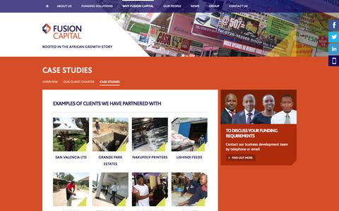 Screenshot of Case Studies Page fusioncapitalafrica.com - Fusion Capital - captured Oct. 6, 2014