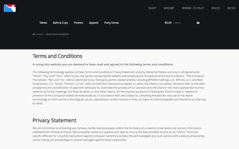 Screenshot of Terms Page bpong.com - Terms and Conditions | BPONG - captured Sept. 22, 2018