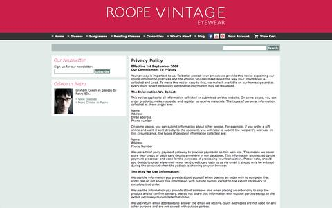 Screenshot of Privacy Page roopevintage.com - Privacy Policy - captured Oct. 7, 2014