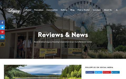 Screenshot of Blog Press Page legacyhousingusa.com - Reviews | News Blog of Legacy Housing Corporation - captured Nov. 7, 2019