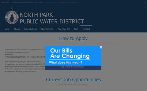 Screenshot of Jobs Page northparkwater.org - Employment | North Park Public Water District - captured Nov. 15, 2018