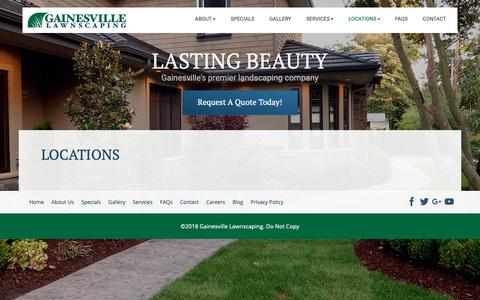 Screenshot of Locations Page gainesvillelawnscaping.com - Locations | Gainesville Lawnscaping - captured Nov. 4, 2018