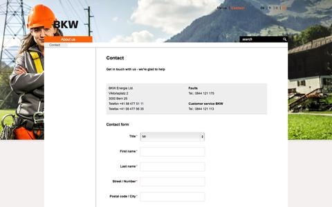 Screenshot of Contact Page bkw.ch - Contact - BKW Energy Ltd. - captured Nov. 5, 2014