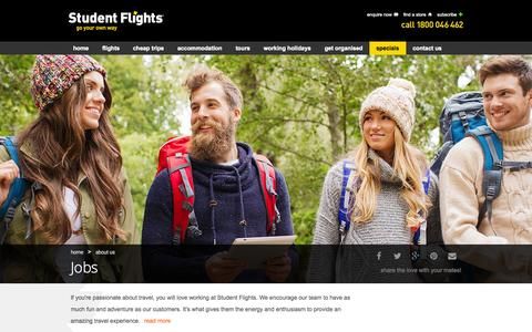 Screenshot of Jobs Page studentflights.com.au - Jobs - captured Nov. 2, 2014